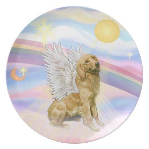 Nubes - ángel del golden retriever (B1) Platos Para Fiestas