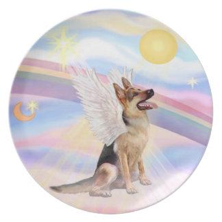 Nubes - ángel del pastor alemán plato para fiesta