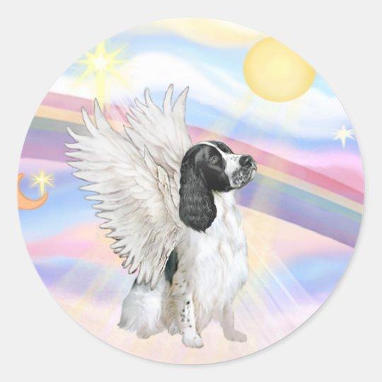 Nubes - ángel del perro de aguas de saltador pegatina redonda