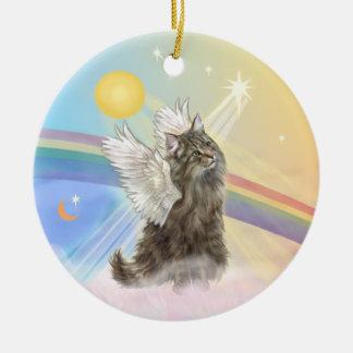 Nubes - ángel noruego del gato del bosque adorno navideño redondo de cerámica