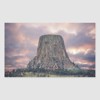 Nubes asombrosas de la torre de los diablos pegatina rectangular