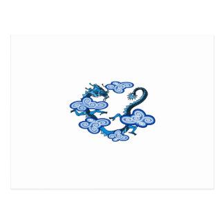 Nubes azules asiáticas del dragón tarjetas postales
