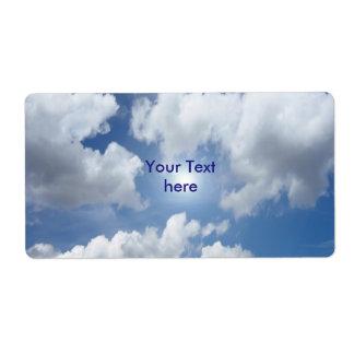 Nubes azules del cielo + sus ideas etiqueta de envío