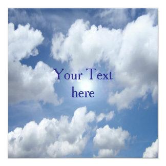 """Nubes azules del cielo + sus ideas invitación 5.25"""" x 5.25"""""""