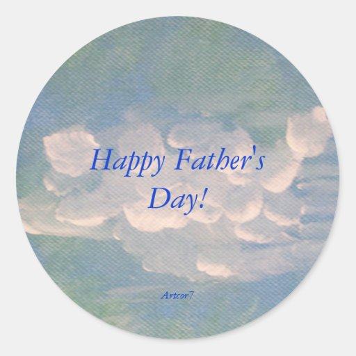 Nubes blancas del día de padre que pintan al pegatina redonda