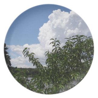 Nubes blancas mullidas del árbol de melocotón de G Plato