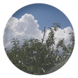Nubes blancas mullidas del árbol de melocotón de G Platos Para Fiestas