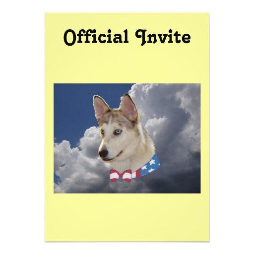 Nubes blancas mullidas del perro fornido patriótic comunicados personales