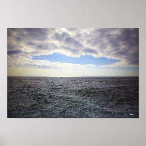 Nubes circulares sobre el Océano Atlántico Poster