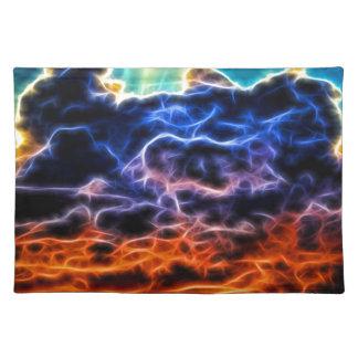 Nubes de cúmulo electrificadas bíblicas Skyscape Mantel