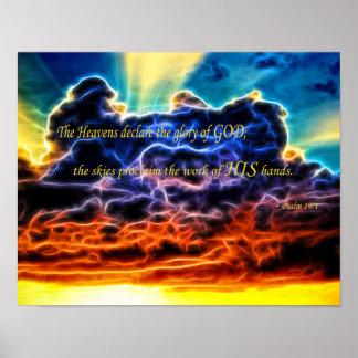 Nubes de cúmulo electrificadas bíblicas Skyscape Póster