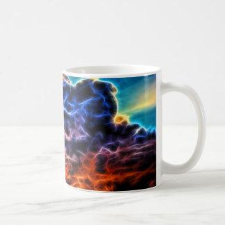 Nubes de cúmulo electrificadas bíblicas Skyscape Taza