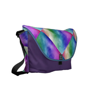Nubes de la acuarela en tonalidades del arco iris bolsa messenger