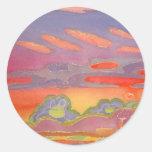 Nubes de la puesta del sol de Riviera, Pegatina Redonda