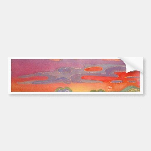 Nubes de la puesta del sol de Riviera, personaliza Pegatina De Parachoque