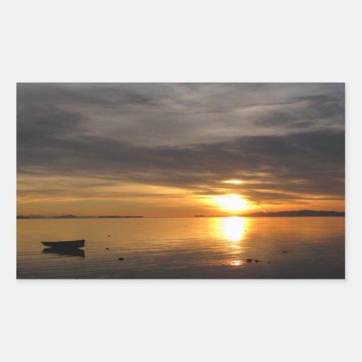 Nubes de la puesta del sol rectangular pegatina