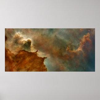 Nubes de los detalles de la nebulosa de Carina gra Posters