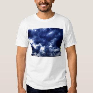 Nubes de tormenta azul marino luminosas y rama que playera