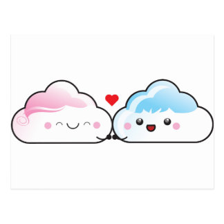Nubes del amor de Kawaii Postal