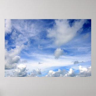 Nubes del cielo azul - poster