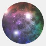 Nubes del espacio etiqueta redonda