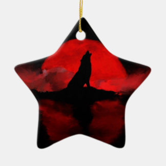 nubes del lago de la noche de la luna de los lobos adorno navideño de cerámica en forma de estrella