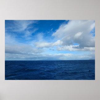 nubes del Océano Pacífico de Hawaii Poster