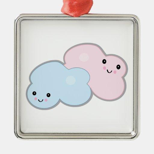 nubes en colores pastel adorno navideño cuadrado de metal