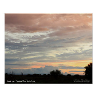Nubes en colores pastel suaves hermosas póster