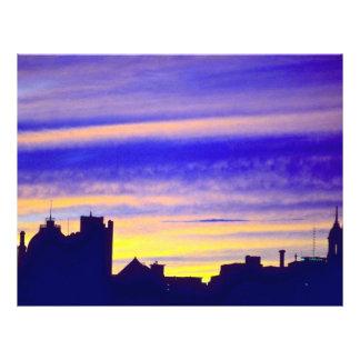 Nubes en la puesta del sol tarjetas publicitarias