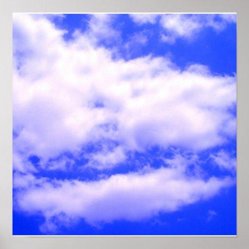 Nubes en poster claro del cuadrado del cielo azul