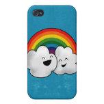 Nubes felices del arco iris iPhone 4 funda