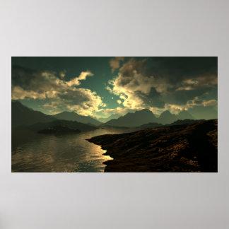 Nubes frescas de la montaña póster