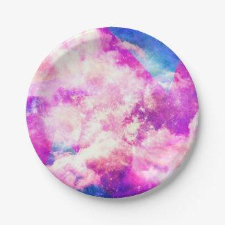 Nubes geométricas coloridas de una nebulosa plato de papel de 7 pulgadas