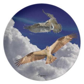Nubes hinchadas Osprey que vuela la placa de la me Platos De Comidas