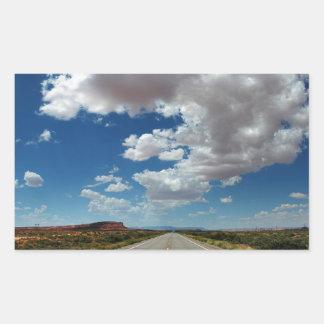 Nubes largas/largo camino pegatina rectangular