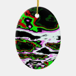 Nubes locas adorno navideño ovalado de cerámica