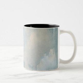 Nubes mullidas azules que pintan el fondo taza de dos tonos