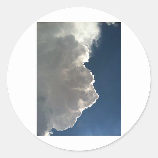 Nubes Pegatina Redonda