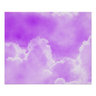Nubes púrpuras suaves póster