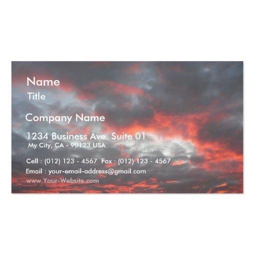 Nubes rojas en el cielo tarjetas de visita