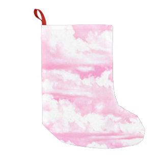 Nubes rosadas felices soñadoras calcetín navideño pequeño
