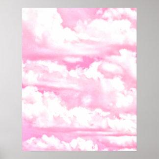 Nubes rosadas felices soñadoras póster