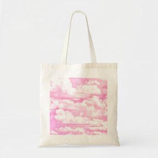 Nubes rosadas fucsias felices dulces bolsa tela barata