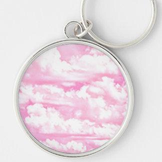 Nubes rosadas fucsias felices dulces llavero redondo plateado