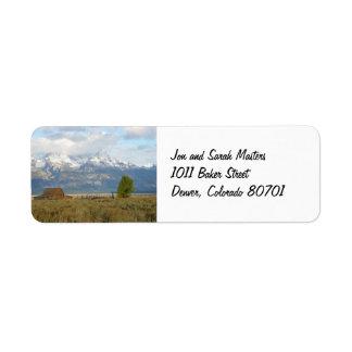 Nubes sobre la etiqueta del remite de Tetons Etiqueta De Remite