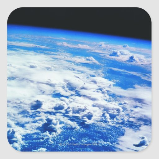 Nubes sobre la tierra calcomanía cuadradas