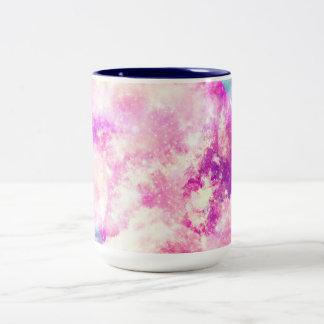Nubes soñadoras de la nebulosa púrpura azul rosada tazas