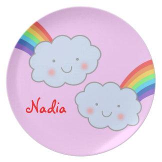 Nubes y arco iris lindos platos