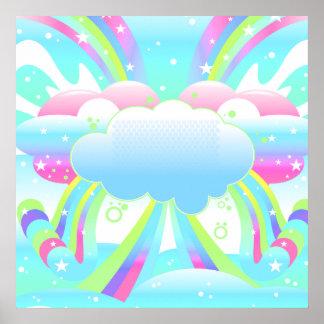 nubes y cielo II del arco iris Póster